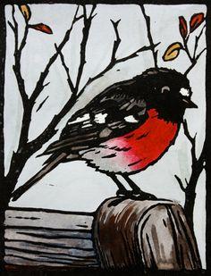 Scarlet Robin Linocut Print - Made in Australia - Red, Black White Grey