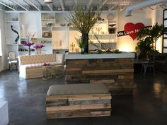 Reclaimed wood bar and matching benches! #reclaimedwood #rental