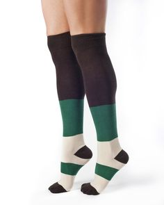 Sophie-Organic Cotton Over Knee Color Block Socks. Made in the USA