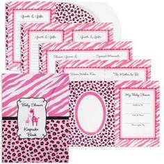 Pink Safari Shower Keepsake Book 8in