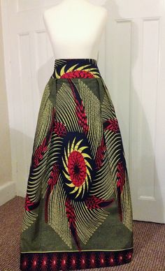 """African Maxi Skirt - Printed Cotton - 3.5"""" High Waist Maxi Made to measure for perfect fit and comfort with elasticated back waist & Unlined"""