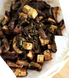 mushrooms and tofu en papillote with miso and rosemary