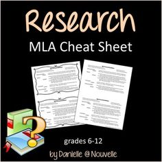 MLA Format Source Cards Reference Sheet and Graphic Organizer ...