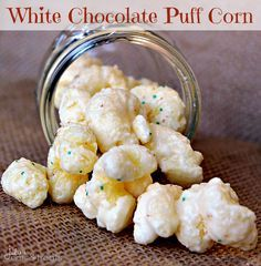 White Chocolate Puff Corn ~ Melt in your mouth puff corn covered in white chocolate! Perfectly sweet and salty! Love this at Christmas time! Popcorn Recipes, Snack Recipes, Dessert Recipes, Cooking Recipes, Easy Recipes, Flavored Popcorn, Cooking Ideas, Yummy Snacks, Delicious Desserts