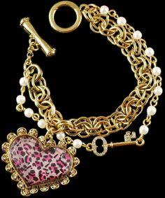 Pink Leopard Heart Bracelet..... want it