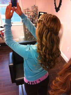 waterfall braid, prom hair