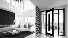 Lounge area featuring large void flooding natural light by Melbourne Custom Home builder Bellemore homes Home Design Decor, Wall Design, House Design, Home Decor, Custom Home Builders, Custom Homes, Luxury Homes Interior, White Houses, Lounge Areas