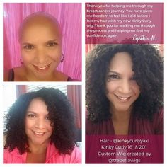 """""""What you do is more than just beauty..."""" - Cynthia N Breast Cancer Fighter  . . . One of my goals with KinkyCurlyYaki is to help every Sista be their own beautiful. When repeat KCY customer Cynthia wrote in to our customer support asking for help to keep her confidence on  through her breast cancer journey I said Queen I got you! . . . With the help of @TreBellaWigs who custom made her wig  with Kinky Curly 16"""" & 20"""" full bundles she's able to feel like herself again. . . . Whether you're…"""