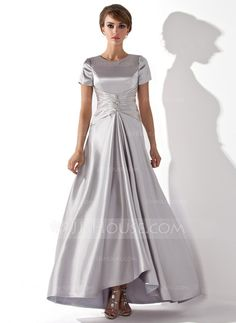 Mother of the Bride Dresses - $116.99 - A-Line/Princess Scoop Neck Asymmetrical Charmeuse Mother of the Bride Dress With Ruffle Beading (008013774) http://jjshouse.com/A-Line-Princess-Scoop-Neck-Asymmetrical-Charmeuse-Mother-Of-The-Bride-Dress-With-Ruffle-Beading-008013774-g13774