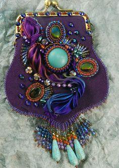 Sherry Serafini talks about beading with shibori, sari and velvet ribbon Shibori, Beaded Purses, Beaded Bags, Vintage Purses, Vintage Bags, Ribbon Jewelry, Beaded Jewelry, Jewellery, Embroidered Bag