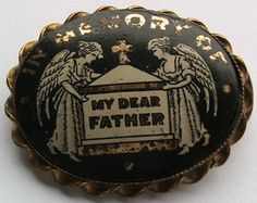 Victorian gold metal/painted French jet IMO My Dear father mourning brooch