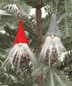 Look at this #zulilyfind! Gray & Red Pinecone Gnome Ornament - Set of Two #zulilyfinds
