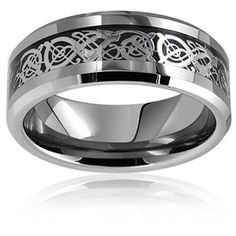 Tungsten Celtic Dragon Black Inlay Flat Comfort Fit Wedding Band ($17) ❤ liked on Polyvore featuring men's fashion, men's jewelry, men's rings, mens wedding rings, mens celtic rings, mens rings, mens diamond band wedding ring and mens celtic wedding rings