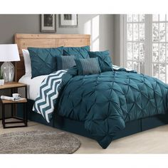Queen Venice Pinch Pleat Comforter Set Teal - Geneva Home Fashion Color: Blue.