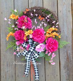 Spring wreath, Easter wreath, Mother's Day wreath, front door wreath, butterfly wreath, peony wreath, large wreath, silk flower wreath, gift by MariangeliDesigns on Etsy#springwreath#Easterwreath#frontdoorwreath#MothersDaywreath#butterflywreath#peonies#largedoorwreath