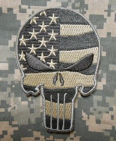 Punisher Skull USA Waving Flag Army Morale Tactical Badge ACU Light Velcro Patch for sale online