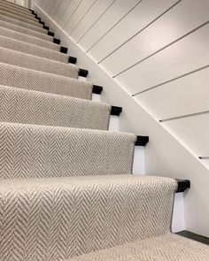 Neutral Herringbone Stair RunnerThis neutral herringbone stair runner is one of our favorite wool carpets. It is timeless and works great in any home! If you have little ones and four legged friends running around, we recommend this one to you! Stair Runner Carpet, House, Staircase Design, Basement Makeover, Home, House Stairs, Carpet Staircase, Hallway Decorating, Stairways