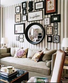 Gallery Wall Inspiration - mix of mirrors and room design design ideas house design Inspiration Wand, Layout Inspiration, Hallway Inspiration, Library Inspiration, Bathroom Inspiration, Striped Walls, Striped Room, Style At Home, Style Blog