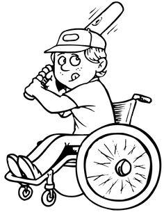 wheelchair baseball coloring page