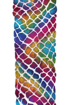 Nuno Felted Scarf Multicolor Felt Wrap OOAK Felt Gift for Her Wool Silk Cotton Gauze