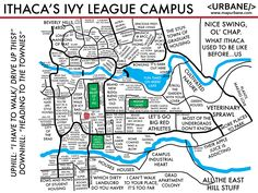 This cultural map features the campus of Cornell University with cultural tags. Cornell University, University Life, Campus Map, Sports Picks, Ivy League, Slums, Before Us, Law School, Cartography