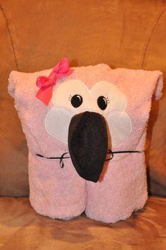 Flamingo Hooded Towel by Madeformonkeys on Etsy, $25.00