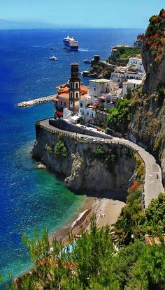 Amalfi Coast Scenic Road, Italy. The bay is beautiful, but those cliffs too?!
