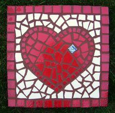 One in stock mosaic garden stone heart Garden Love. by JanWilhelmi, $50.00