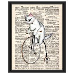 Hipster Cat Canvas Framed, $69, now featured on Fab.
