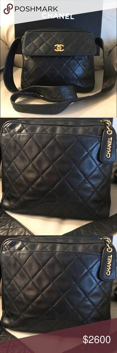 7a8219d3693ba CHANEL Quilted Black Lambskin Leather Shoulder Bag 🎉SALE🎉 Very Gently  used