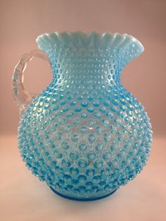 Vintage Fenton Hobnail Aqua/Blue Glass Pitcher