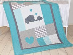Elephant Blanket, Elephant Quilt Blanket, Turquoise Blue and Gray Baby Patchwork Blanket  A brand new colour combination of the elephant