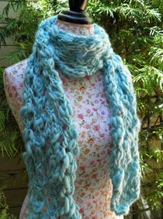 I loved knitting this Rustic Lace Scarf! I used justone ballofPlymouth  Haciendo yarnand I can't believe what a generously sized it turned out to  be.