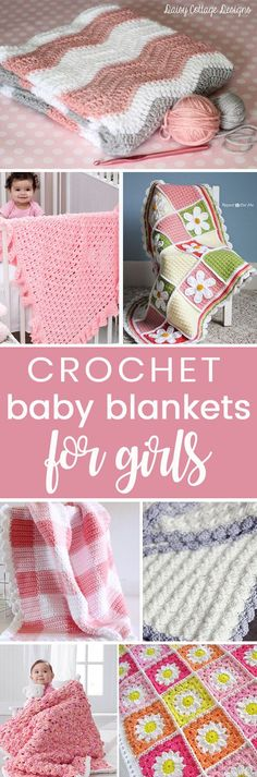 Crochet these easy beginner free baby blankets for girls from my free pattern roundup!