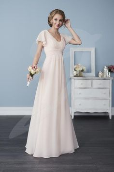 Jacquelin Bridals Canada - 22762 - Bridesmaids - Made from chiffon and in the iconic style you love, this gown has a pleated waist and bust, with delicate butterfly sleeves. Pictured in: Blush Pink
