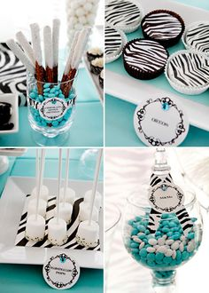 ZEBRA & Tiffany blue Party Theme Great teenage birthday or bridal shower ideas I would like it to be a black lace pattern instead.OMG, this is so my BFF she wants her colors Tiifany's blue and she loves Zebra strip! Zebra Party, Baby Shower, Bridal Shower, Blue Party Themes, Tiffany Blue Party, Tiffany Theme, Teenage Girl Birthday, Sweet 16 Parties, Teen Parties