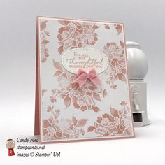 Thank you card, Floral Phrases stamp set, Fresh Florals DSP, 2017-2019 In Colors Bitty Bows, by Stampin' Up! #stampcandy