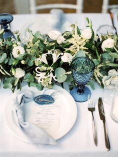 Pastel Blue & Green Destination Wedding at Corfu Luxury Villas, Planned by Rosmarin Weddings & Events Teal And Grey Wedding, Green Wedding, Water Theme Wedding, Blue Table Settings, Elegant Wedding Themes, Blue Cups, Wedding Place Settings, Green Table, Table Set Up