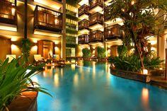Lagoon pool at The Oasis Lagoon Sanur, Bali. Lagoon Pool, Leading Hotels, Luxury Rooms, Denpasar, Bali Travel, Luxury Interior Design, Cool Pools, House Rooms, Hostel