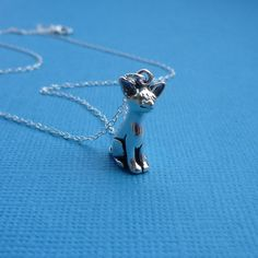 sterling smiling chihuahua charm necklace by cravejewelrydesign, $28.00