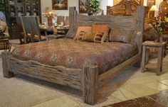 Rustic King Bed: Custom Western Style Wood Bed - Rustic King Bed: Custom Western Style Wood Bed – Solid Wood Custom Bedroom Furniture Hand Hewn With Mortise And Tenon Joinery Fine Art Quality Certified Furnishings With Hand Applied Stain Finishes Rustic Bedroom Furniture Sets, Rustic Master Bedroom, Rustic Bedding, Wood Bedroom, Country Furniture, Cool Furniture, Furniture Design, Bedroom Decor, Furniture Ideas
