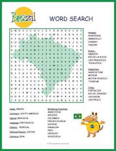 A word search puzzle featuring geographical features and interesting facts about Brazil. Puzzlers will be learning about this important country while they are searching for the words in this printable activity. Learn To Speak Portuguese, Learn Brazilian Portuguese, Portuguese Lessons, Brazil Geography, World Geography, Brazil Facts, Portuguese Language, World Thinking Day, Word Search Puzzles