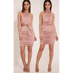 86c7ef19bbc8 Katherine Blush Multiway Mini Dress (42 CAD) ❤ liked on Polyvore featuring  dresses,