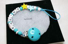 Schnullerkette Sterne Wunschname Name Baby md335 von myduttel auf DaWanda.com