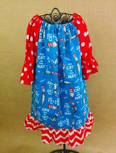 Cat in the Hat Peasant Dress Price $25 Available to be made in 6mo- size 8