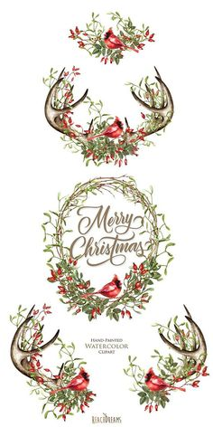 This set of 5 high quality hand painted watercolor wreaths and compositions Perfect graphic for Christmas projects, winter holidays, greeting cards, photos, posters, quotes and more. Item details: 5 PNG files (300 dpi, RGB, transparent background) 4 compositions size (larger side)