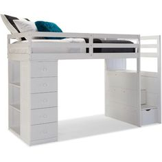 Canwood Mountaineer Twin Loft Bed with Storage Tower and Built in Stairs Drawers, White