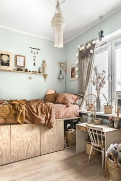 The Beautiful, Charming and Stylish Bedroom of Sonny Lou - NordicDesign Inspiration for a Nordic design kids bedroom with mint, mustard and wood tones Girl Room, Girls Bedroom, Bedroom Wall, Bedrooms, Room Boys, Bedroom Lamps, Mint Bedroom Decor, Pastel Bedroom, Deco Kids