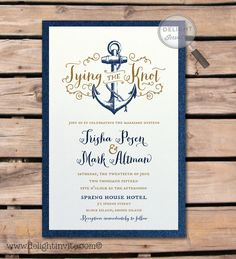 "Rustic Anchor ""Tie the Knot"" Wedding Invitation"