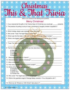 A fun general knowledge Christmas trivia game for Christmas parties and get-togethers. A printable version is also available upon request. Christmas Trivia Games, Xmas Games, Holiday Games, Christmas Activities, Christmas Traditions, Holiday Fun, Christmas Crafts, Holiday Ideas, Christmas Ideas